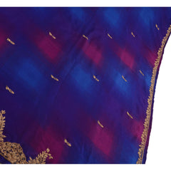 Antique Vintage Indian Saree Art Silk Hand Embroidery Fabric Sari Zardozi Blue - StompMarket