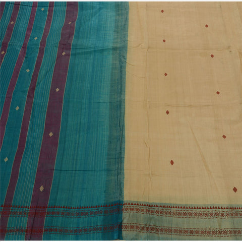 Vintage Indian Saree 100% Pure Silk Cream Woven Craft Fabric Sari