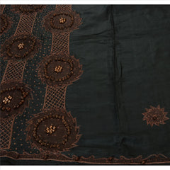 Antique Vintage Indian Saree 100% Pure Silk Hand Beaded Black Fabric Sari Wooden - StompMarket