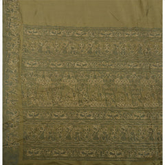 Antique Vintage Indian Saree 100% Pure Silk Hand Embroidered Woven Fabric Sari - StompMarket
