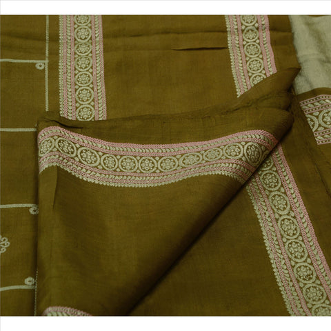 Antique Vintage Indian Saree 100% Pure Silk Green Woven Craft Fabric Sari