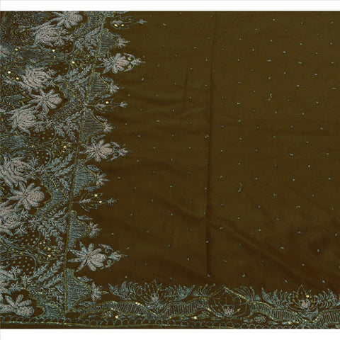 Antique Vintage Indian Saree Art Silk Hand Embroidery Green Fabric Sari Zari - StompMarket