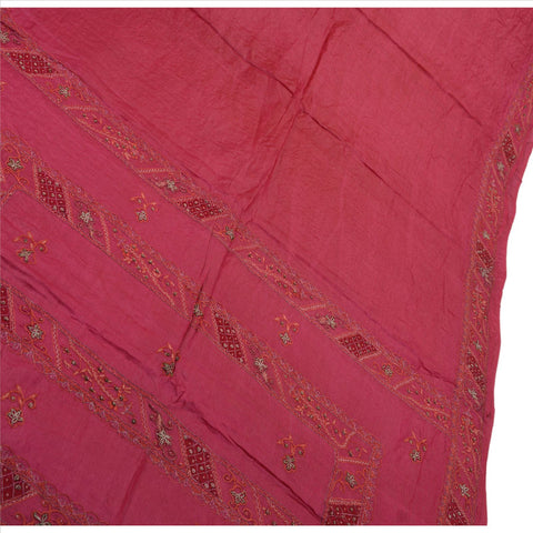 Antique Vintage Indian Saree 100% Pure Silk Hand Beaded Craft Fabric Sari Pink - StompMarket