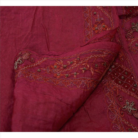 Antique Vintage Indian Saree 100% Pure Silk Hand Beaded Craft Fabric Sari Pink
