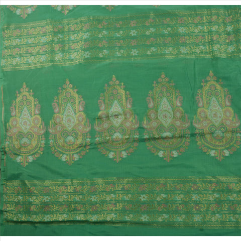 Antique Vintage Indian Saree 100% Pure Silk Green Woven Craft Fabric Sari - StompMarket