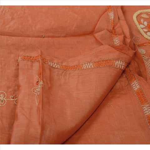 Antique Vintage Indian Saree 100% Pure Silk Hand Beaded Peach Fabric Sari Pearl