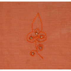 Antique Vintage Indian Saree 100% Pure Silk Hand Beaded Peach Fabric Sari Pearl - StompMarket