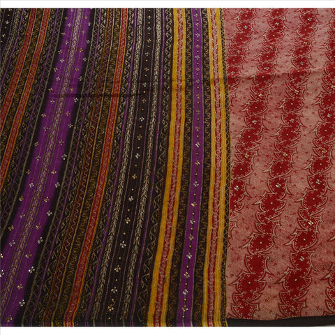 Antique Indian Saree 100% Pure Silk Hand Beaded Maroon Fabric Sari Sequins - StompMarket