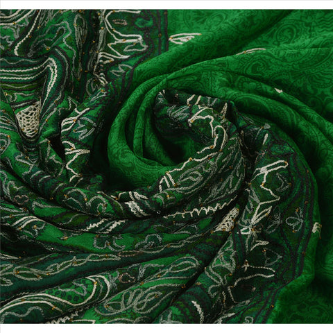 Antique Vintage Indian Saree 100% Pure Silk Hand Beaded Green Fabric Sari - StompMarket