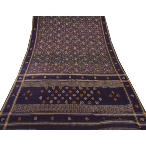 Antique Vintage Indian Saree 100% Pure Silk Embroidered Woven Fabric Blue Sari - StompMarket