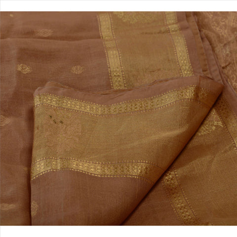 Antique Vintage Indian Saree 100% Pure Silk Brown Woven Craft Fabric Sari