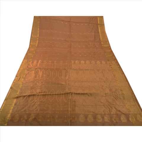 Antique Vintage Indian Saree 100% Pure Silk Brown Woven Craft Fabric Sari - StompMarket