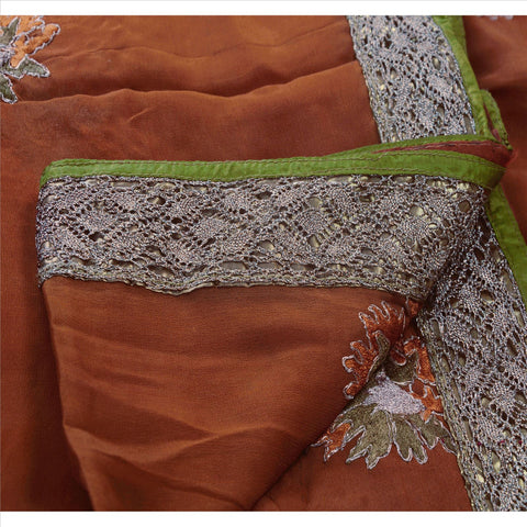Antique Vintage Indian Saree 100% Pure Silk Hand Embroidery Fabric Sari Zari