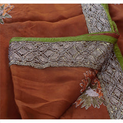 Antique Vintage Indian Saree 100% Pure Silk Hand Embroidery Fabric Sari Zari - StompMarket