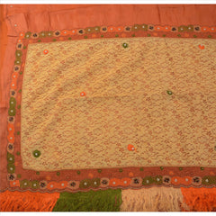 Antique Vintage Indian Saree 100% Pure Silk Hand Beaded Fabric Sari - StompMarket