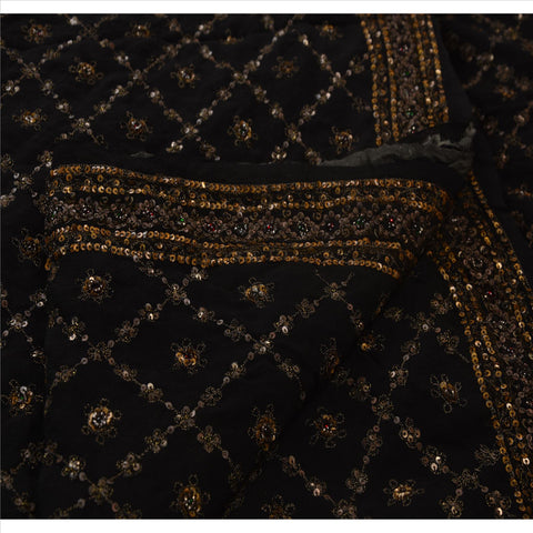 Antique Vintage Indian Saree 100% Pure Silk Hand Embroidery Fabric Sari Sequins
