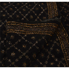 Antique Vintage Indian Saree 100% Pure Silk Hand Embroidery Fabric Sari Sequins - StompMarket