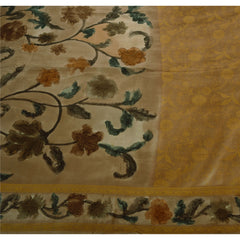 Antique Vintage Indian Saree 100% Pure Silk Woven Fabric Digital Printed Sari - StompMarket