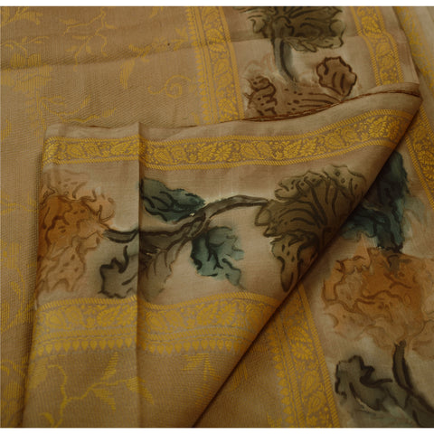 Antique Vintage Indian Saree 100% Pure Silk Woven Fabric Digital Printed Sari