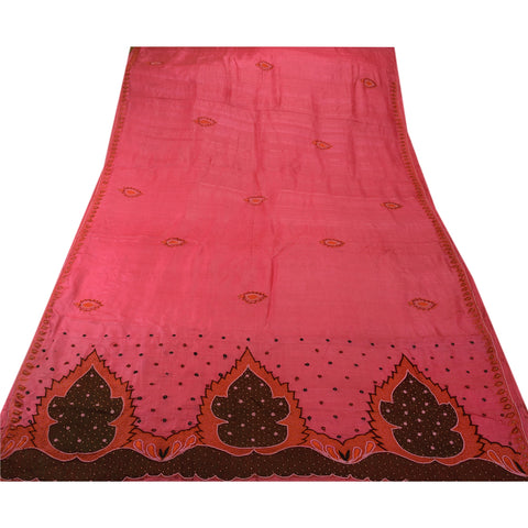 Antique Vintage Indian Saree 100% Pure Silk Hand Beaded Pink Fabric Pearl Sari - StompMarket