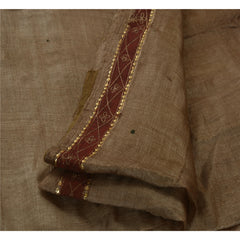 Antique Vintage Indian Saree 100% Pure Silk Hand Beaded Fabric Elephant Sari - StompMarket