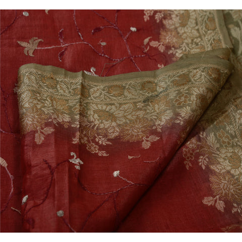 Antique Vintage Indian Saree 100% Pure Silk Embroidery Maroon Woven Fabric Sari