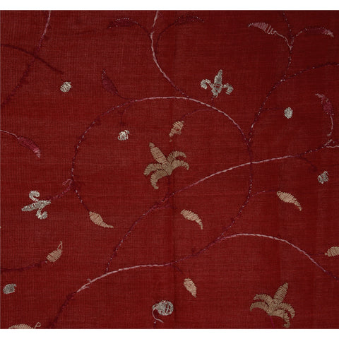 Antique Vintage Indian Saree 100% Pure Silk Embroidery Maroon Woven Fabric Sari - StompMarket