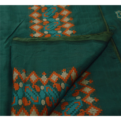 Vintage Indian Saree 100% Pure Silk Green Woven Craft Fabric Sari