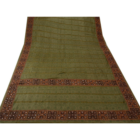 Antique Vintage Indian Saree 100% Pure Silk Hand Embroidered Green Fabric Sari - StompMarket