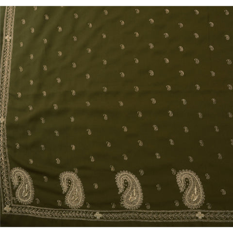 Antique Vintage Indian Saree Art Silk Hand Embroidery Green Fabric Zardozi Sari - StompMarket