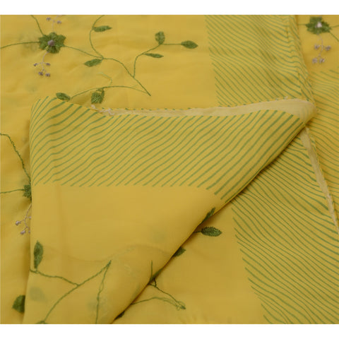 Vintage Indian Saree Georgette Lemon Embroidered Craft Fabric Sari