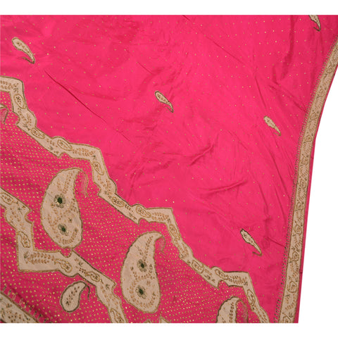 Antique Vintage Indian Saree 100% Pure Silk Hand Beaded Pink Fabric Sequins Sari