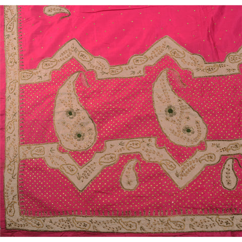 Antique Vintage Indian Saree 100% Pure Silk Hand Beaded Pink Fabric Sequins Sari - StompMarket