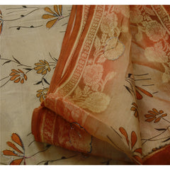 Antique Vintage Indian Saree 100% Pure Silk Hand Beaded Cream Woven Fabric Sari - StompMarket