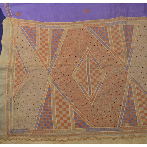 Antique Vintage Indian Saree 100% Pure Silk Hand Beaded Purple Fabric Sari - StompMarket