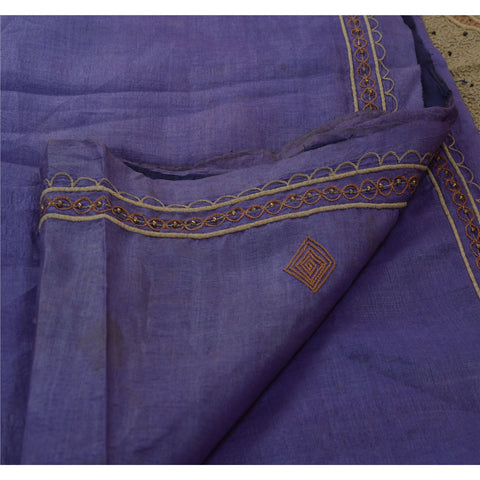 Antique Vintage Indian Saree 100% Pure Silk Hand Beaded Purple Fabric Sari