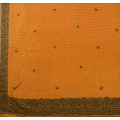 Antique Vintage Indian Saree 100% Pure Silk Hand Embroidery Woven Fabric Sari - StompMarket