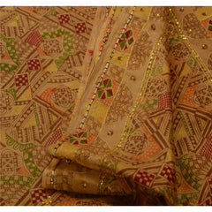 Antique Vintage Indian Saree 100% Pure Silk Hand Beaded Fabric Sequins Sari - StompMarket