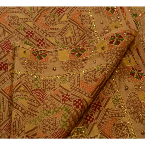 Antique Vintage Indian Saree 100% Pure Silk Hand Beaded Fabric Sequins Sari