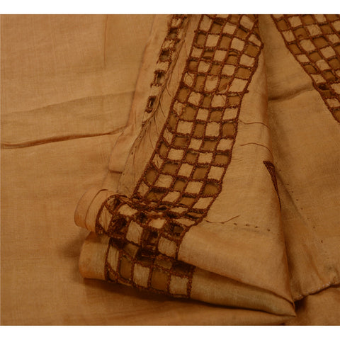 Antique Vintage Indian Saree 100% Pure Silk Hand Embroidered Brown Fabric Sari - StompMarket