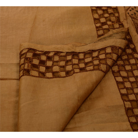 Antique Vintage Indian Saree 100% Pure Silk Hand Embroidered Brown Fabric Sari