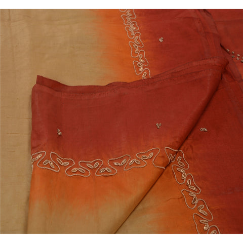 Antique Vintage Indian Saree 100% Pure Silk Hand Beaded Fabric Zardozi Sari
