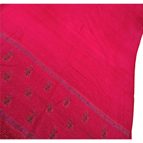 Antique Vintage Indian Saree 100% Pure Silk Hand Beaded Woven Pink Fabric Sari