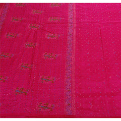 Antique Vintage Indian Saree 100% Pure Silk Hand Beaded Woven Pink Fabric Sari - StompMarket