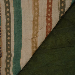 Antique Vintage Indian Saree 100% Pure Silk Hand Embroidery Green Fabric Sari - StompMarket