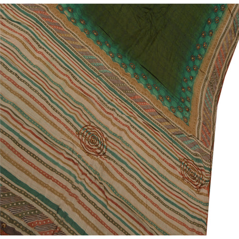 Antique Vintage Indian Saree 100% Pure Silk Hand Embroidery Green Fabric Sari