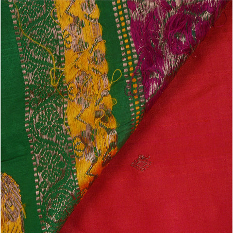 Antique Vintage Indian Saree 100% Pure Silk Woven Brocade Fabric Sari - StompMarket