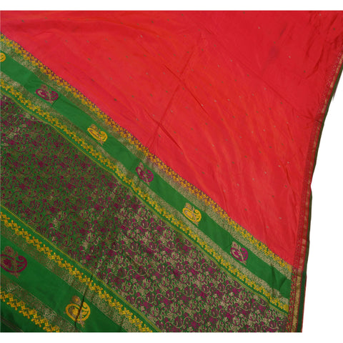 Antique Vintage Indian Saree 100% Pure Silk Woven Brocade Fabric Sari