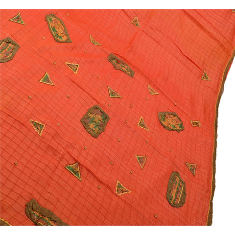 Antique Vintage Indian Saree 100% Pure Silk Hand Beaded Fabric Sari