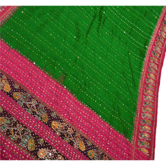 Antique Vintage Indian Saree 100% Pure Silk Hand Beaded Woven Fabric Patola Sari - StompMarket